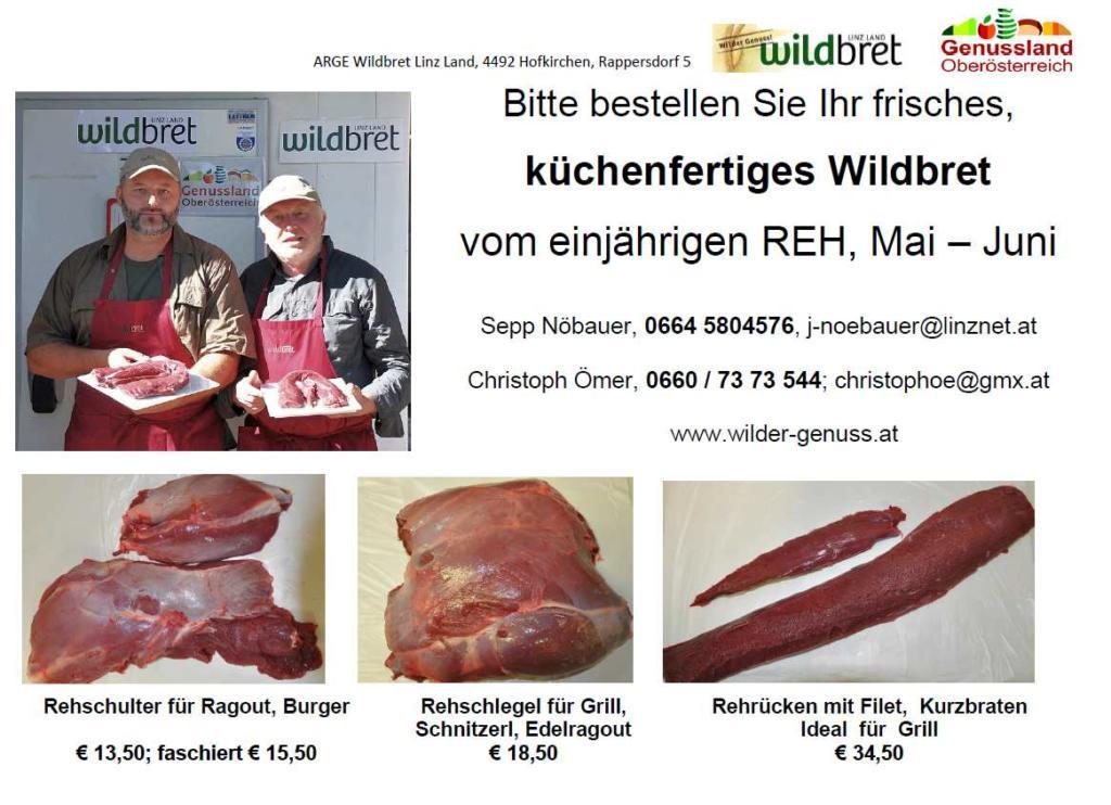 Arbeitsgemeinschaft Wildbret Linz Land FLYER, Mai 20