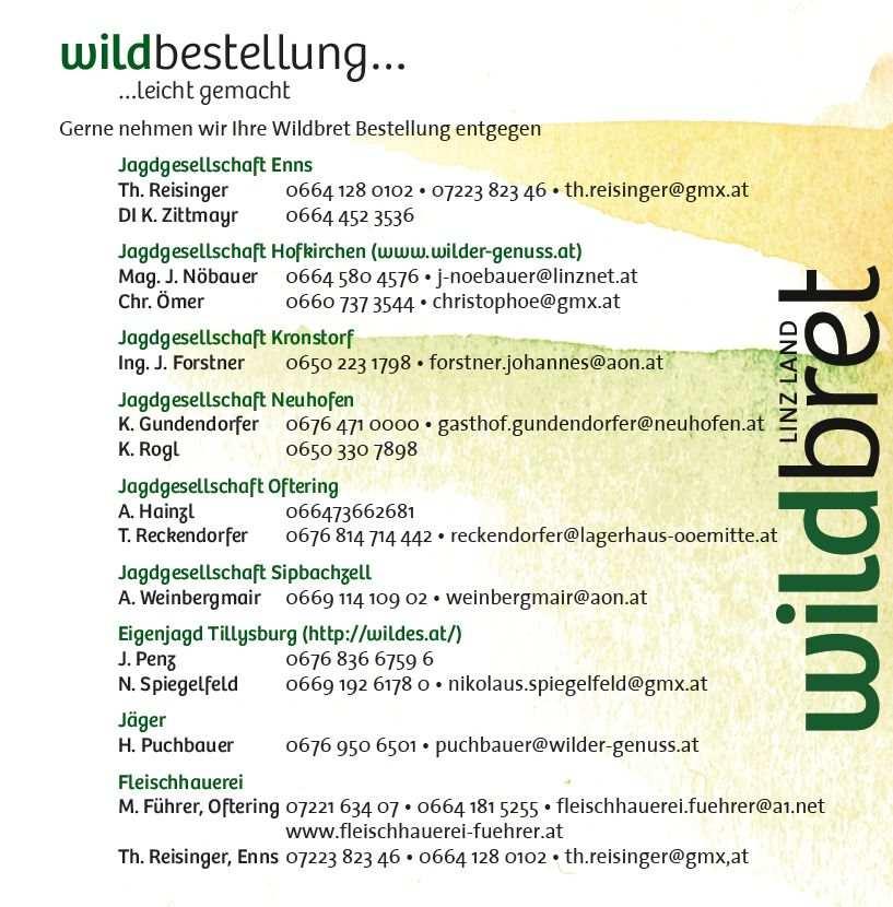 Arbeitsgemeinschaft Wildbret Linz Land Wildbestellung, Kontaktdaten der Mitglieder